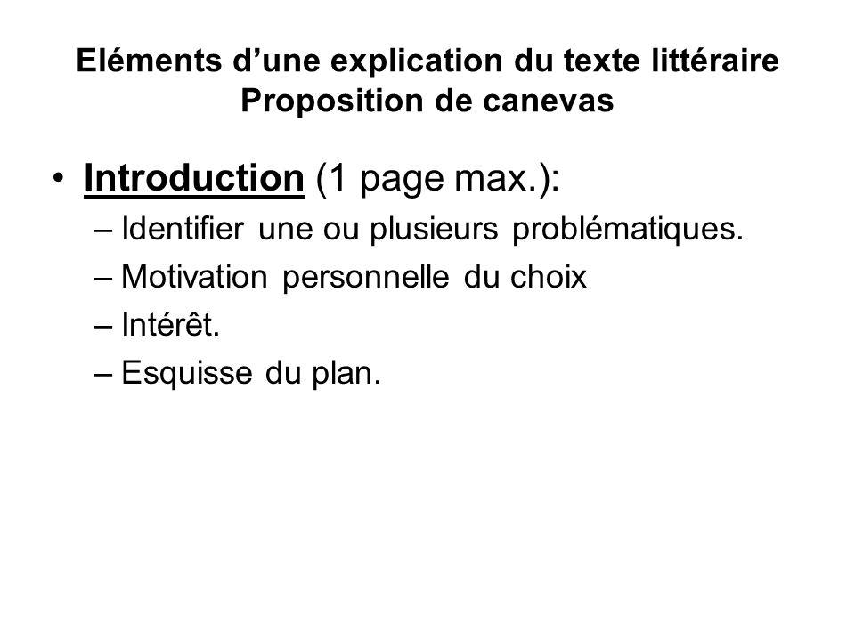 Eléments d'une explication du texte littéraire Proposition de canevas
