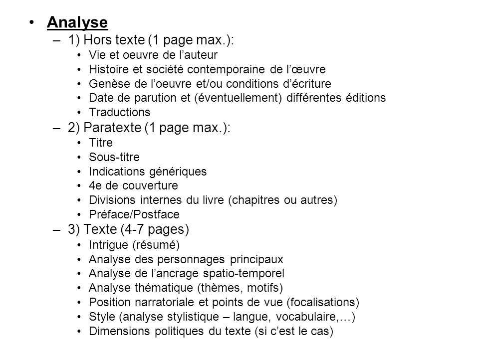 Analyse 1) Hors texte (1 page max.): 2) Paratexte (1 page max.):