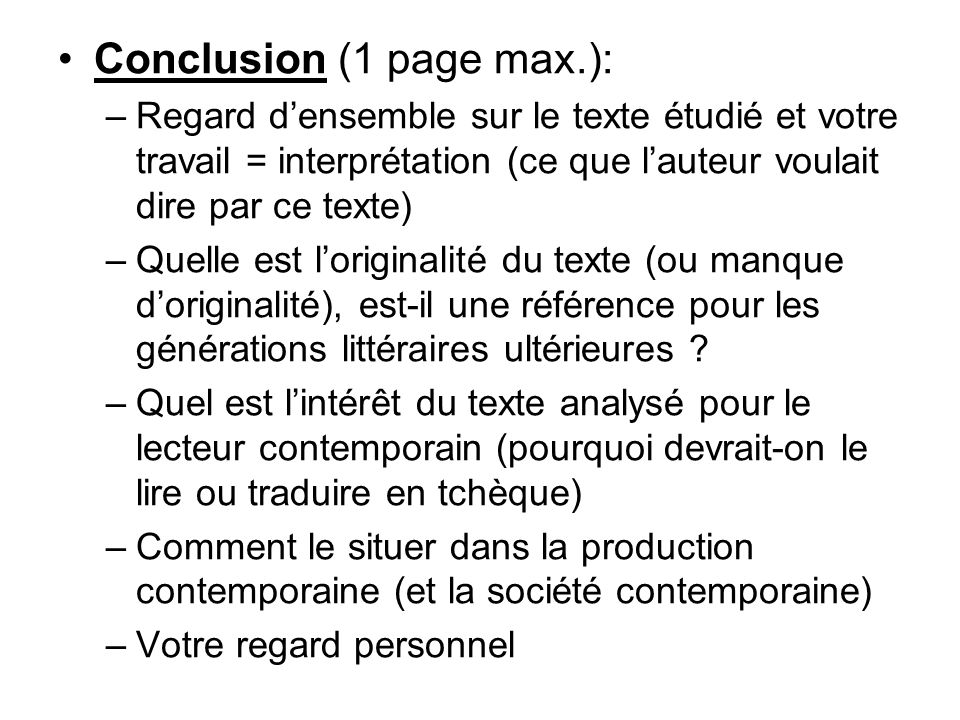 Conclusion (1 page max.):