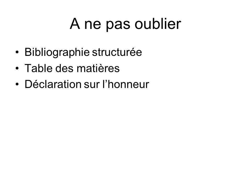 A ne pas oublier Bibliographie structurée Table des matières