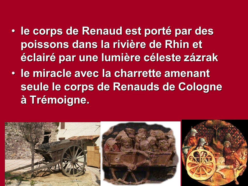 le corps de Renaud est porté par des poissons dans la rivière de Rhin et éclairé par une lumière céleste zázrak