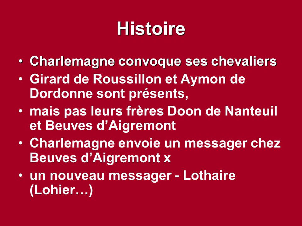 Histoire Charlemagne convoque ses chevaliers