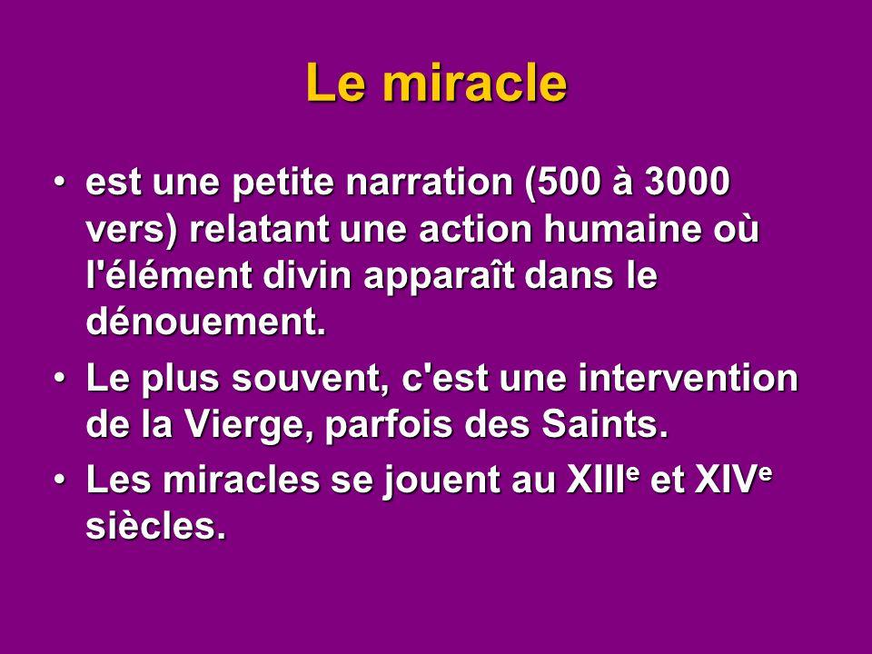 Le miracle est une petite narration (500 à 3000 vers) relatant une action humaine où l élément divin apparaît dans le dénouement.