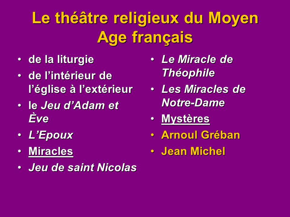 Le théâtre religieux du Moyen Age français