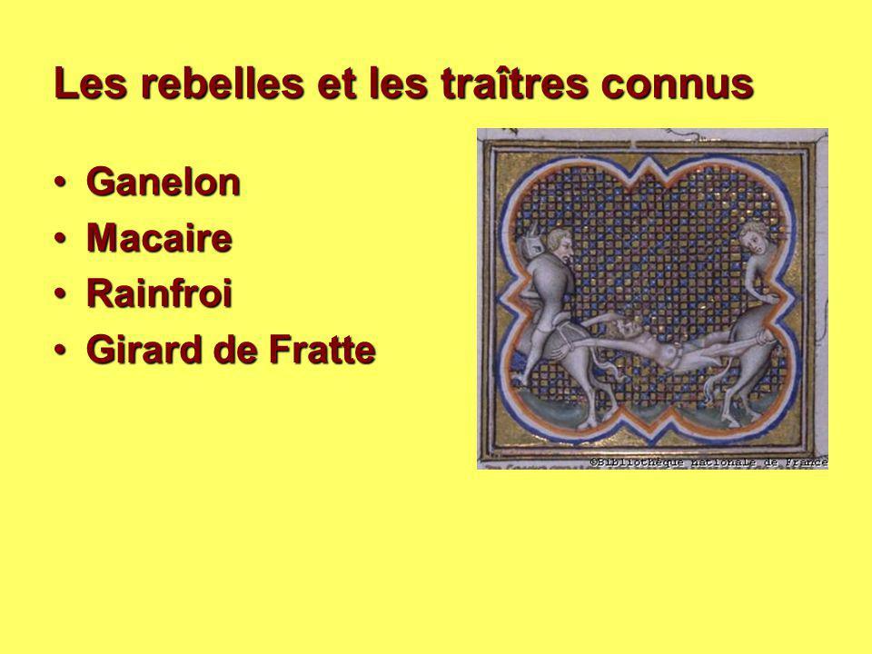 Les rebelles et les traîtres connus