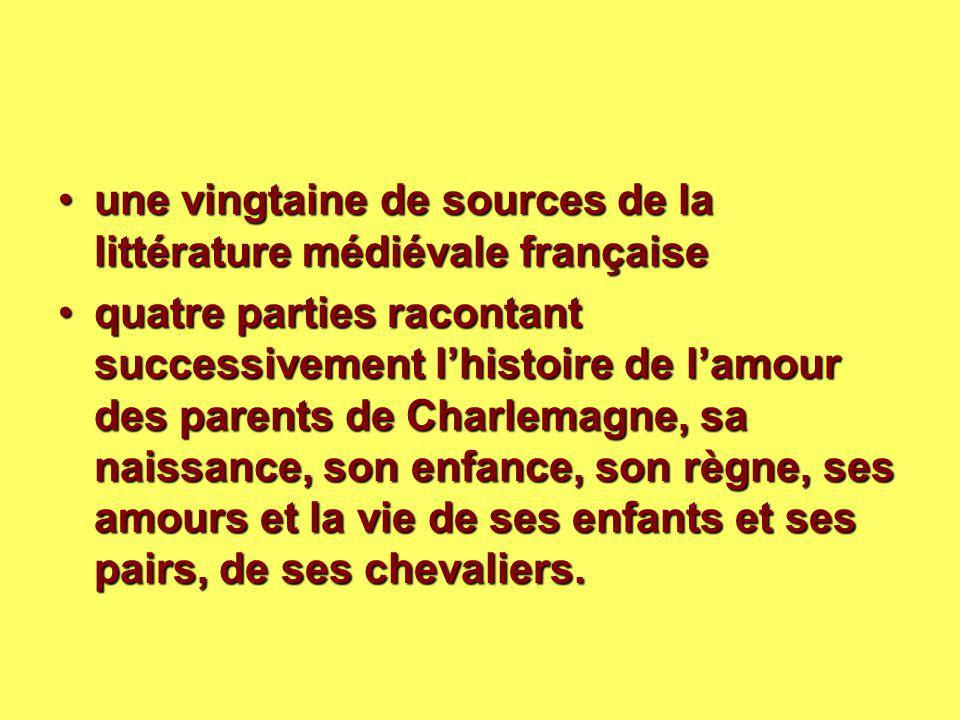 une vingtaine de sources de la littérature médiévale française