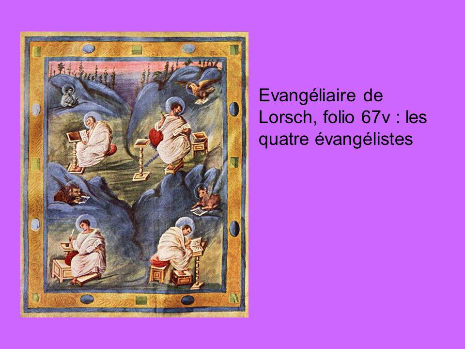 Evangéliaire de Lorsch, folio 67v : les quatre évangélistes