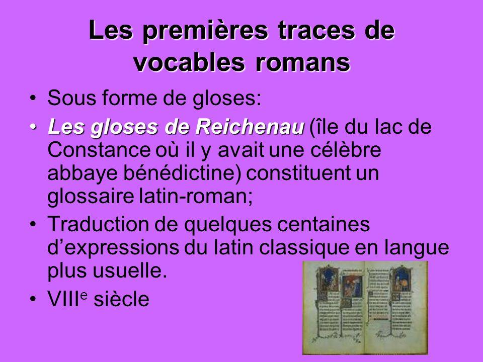 Les premières traces de vocables romans