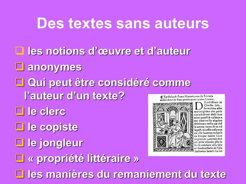 Des textes sans auteurs