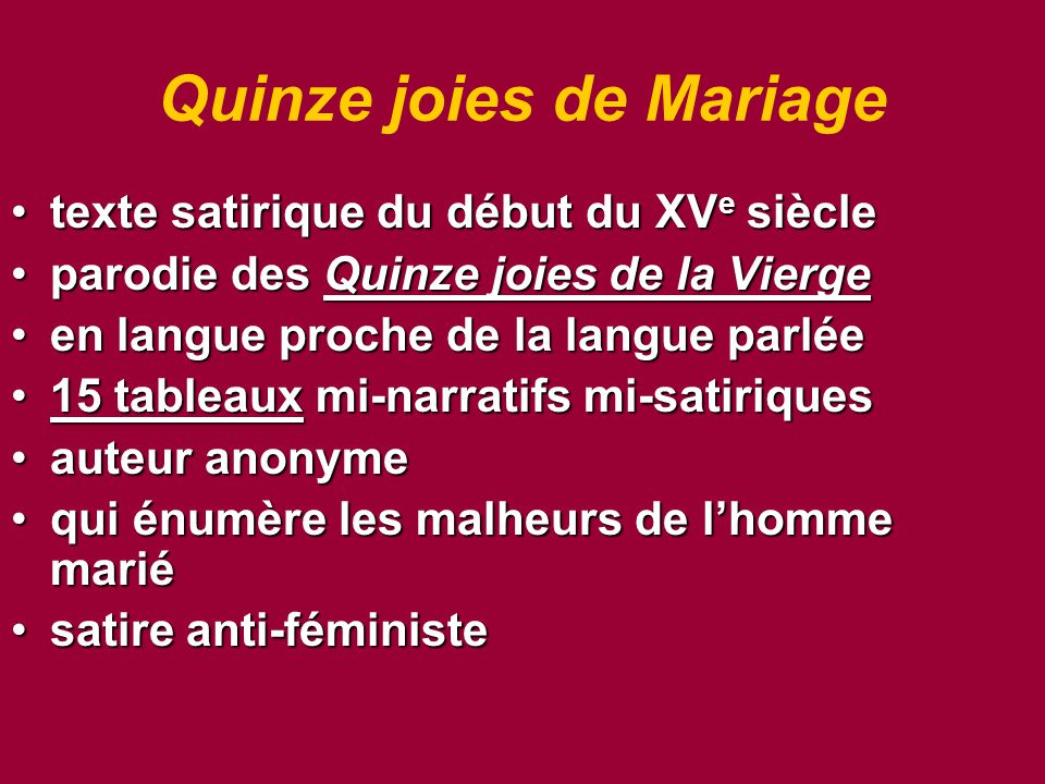 Quinze joies de Mariage