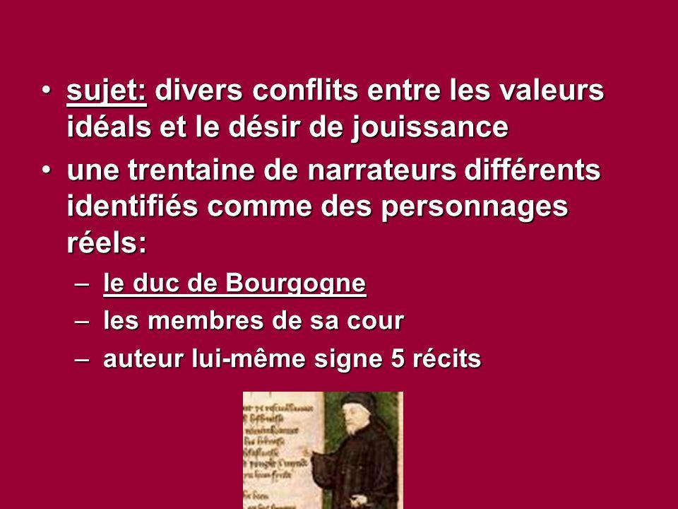 sujet: divers conflits entre les valeurs idéals et le désir de jouissance