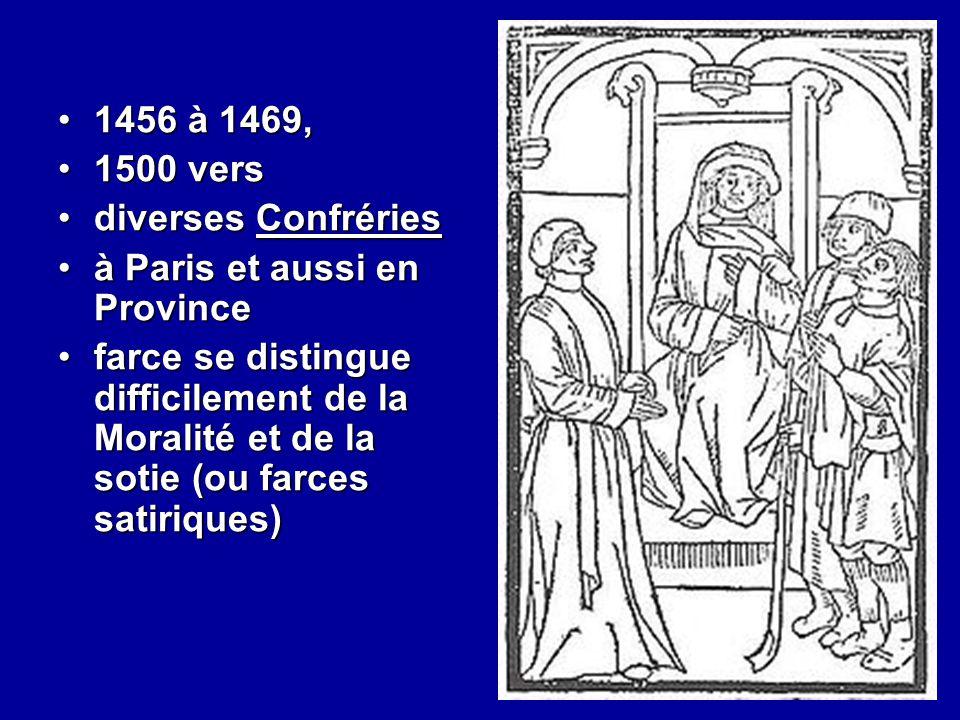 1456 à 1469, 1500 vers. diverses Confréries. à Paris et aussi en Province.
