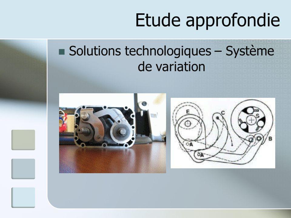Solutions technologiques – Système de variation
