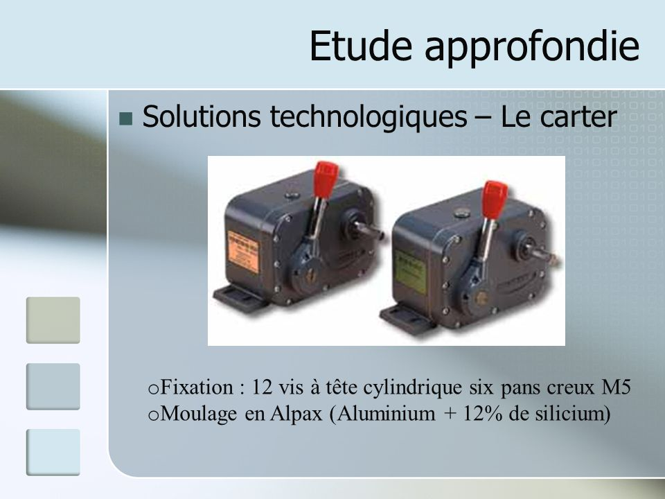 Etude approfondie Solutions technologiques – Le carter