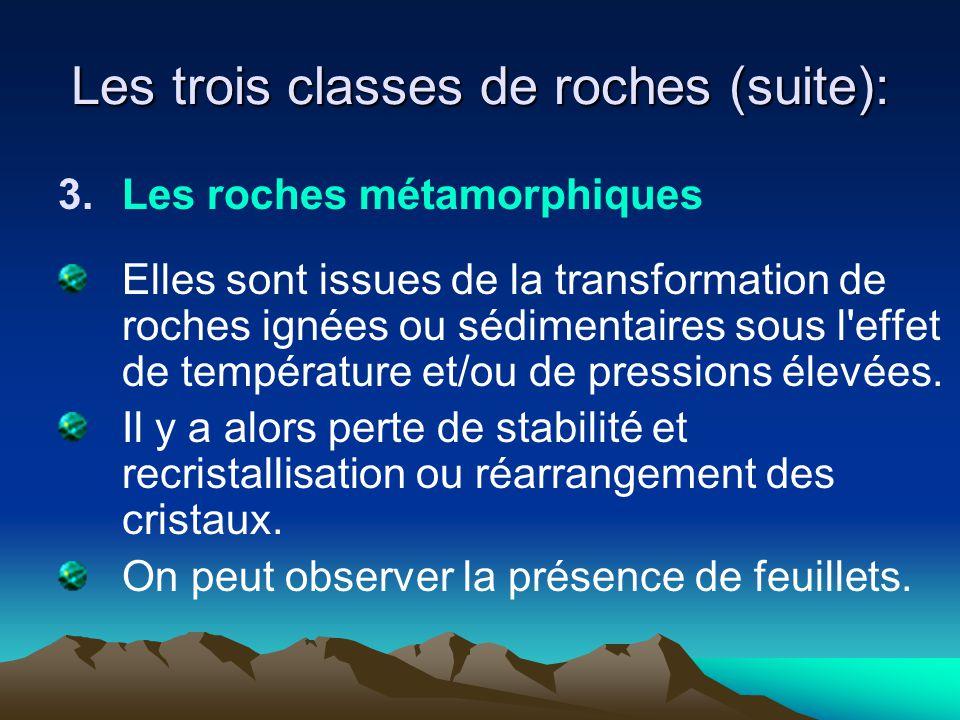 Les trois classes de roches (suite):