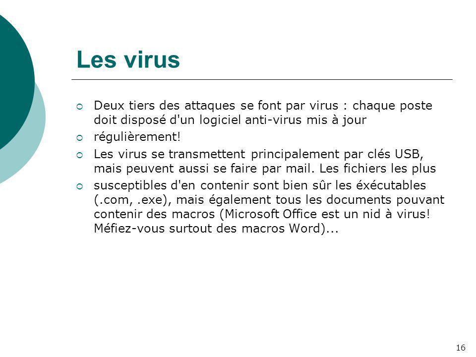 Les virus Deux tiers des attaques se font par virus : chaque poste doit disposé d un logiciel anti-virus mis à jour.