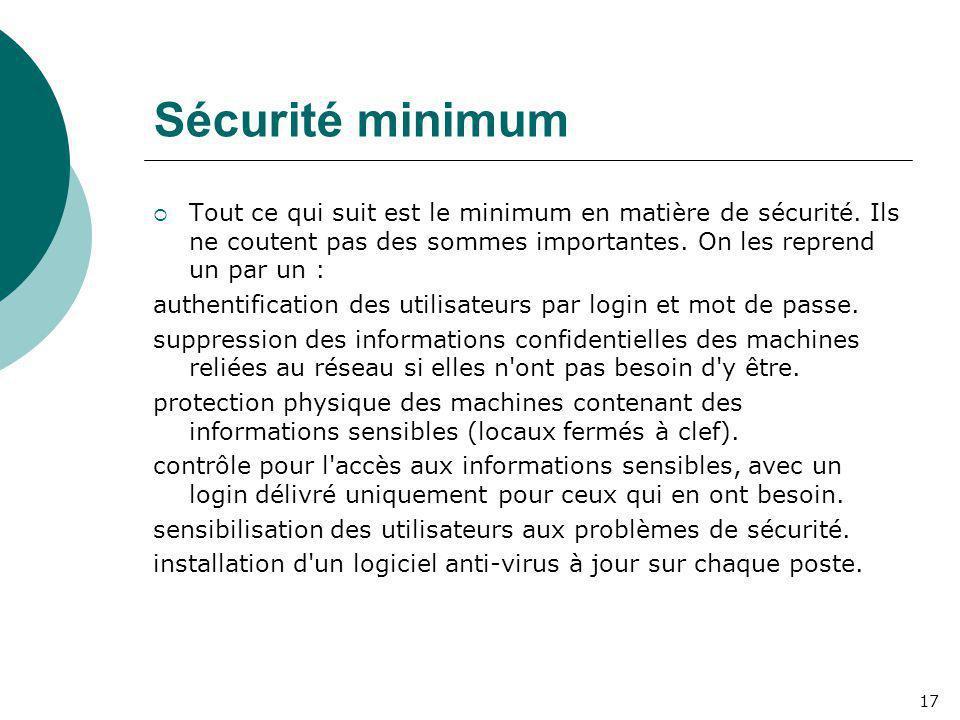 Sécurité minimum Tout ce qui suit est le minimum en matière de sécurité. Ils ne coutent pas des sommes importantes. On les reprend un par un :