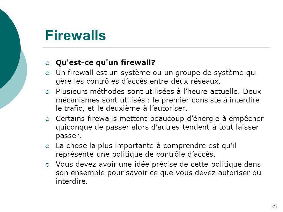 Firewalls Qu est-ce qu un firewall