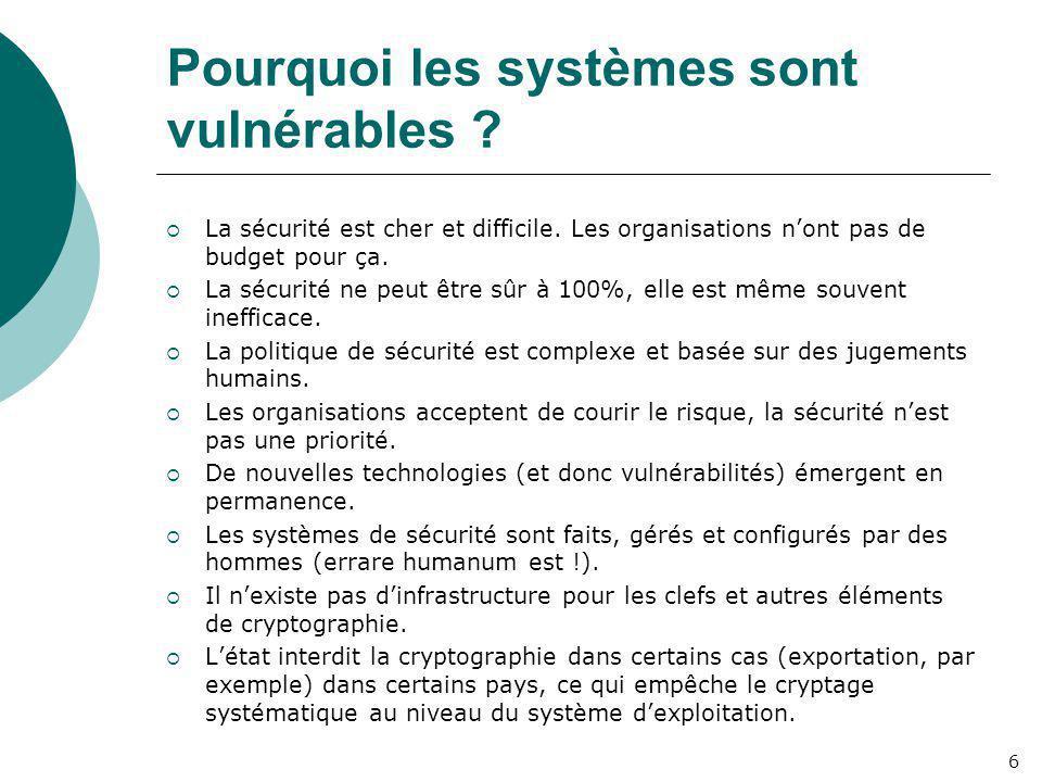 Pourquoi les systèmes sont vulnérables