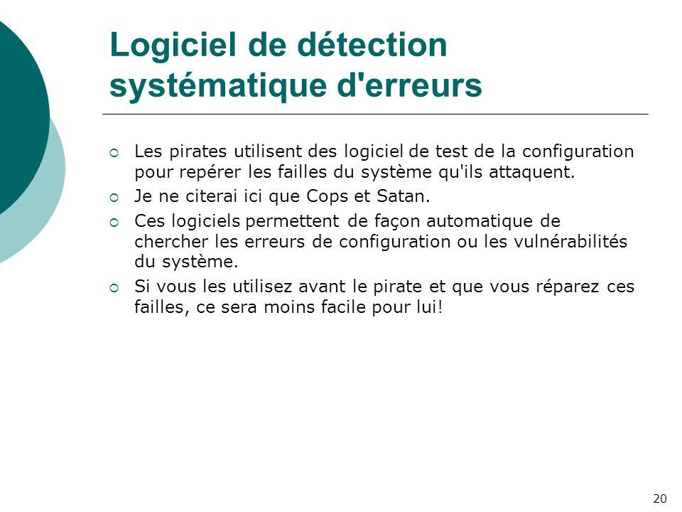 Logiciel de détection systématique d erreurs