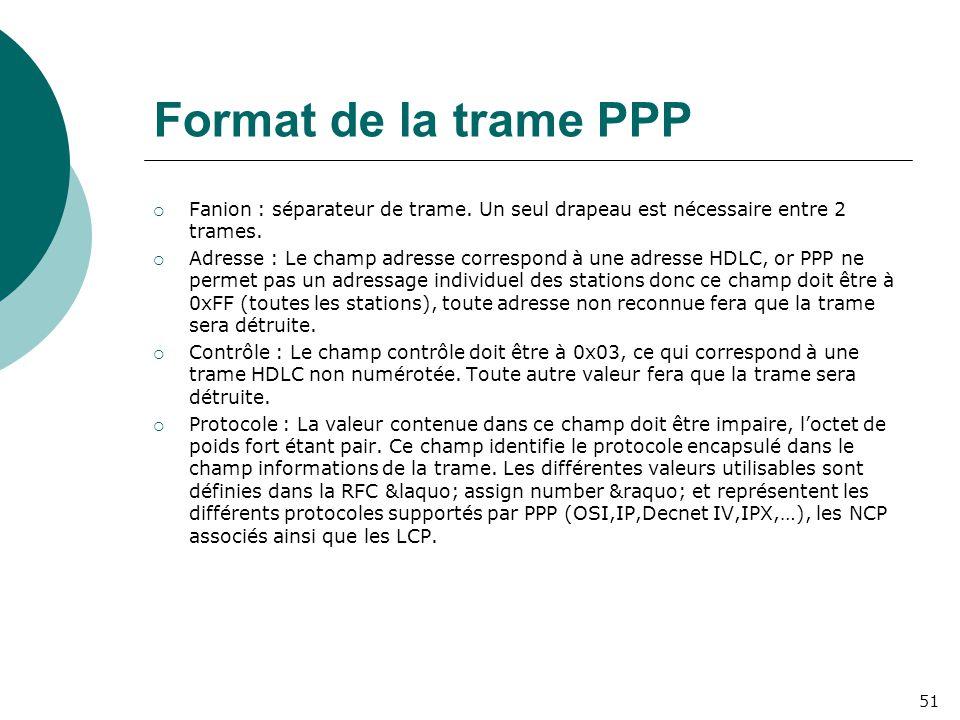 Format de la trame PPP Fanion : séparateur de trame. Un seul drapeau est nécessaire entre 2 trames.