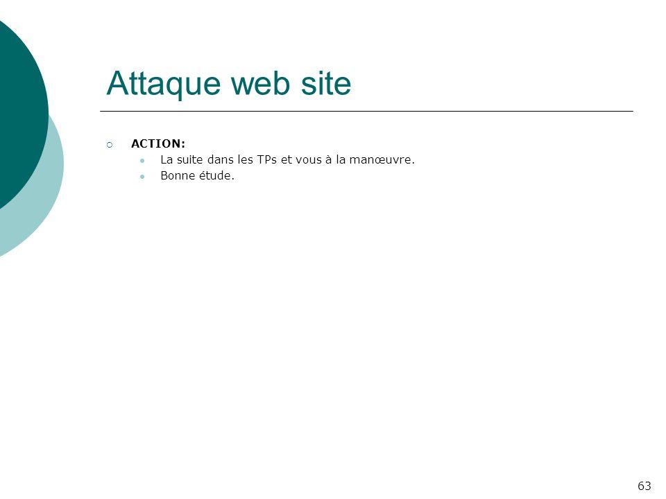 Attaque web site ACTION: La suite dans les TPs et vous à la manœuvre.