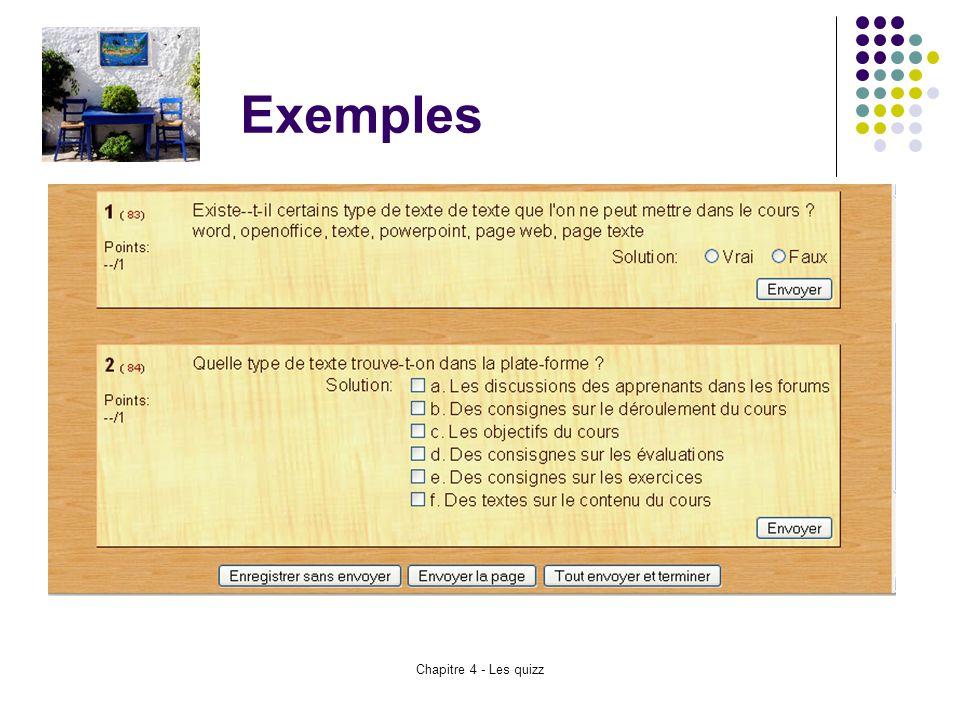 Exemples Chapitre 4 - Les quizz
