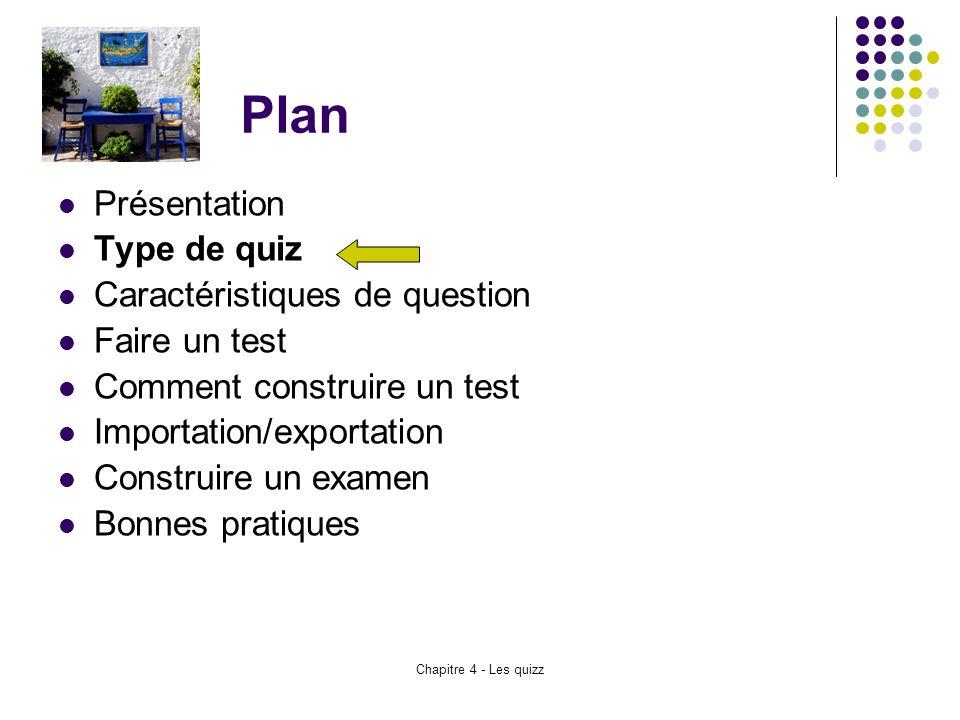 Plan Présentation Type de quiz Caractéristiques de question