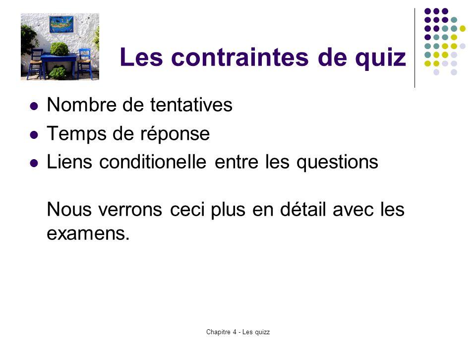 Les contraintes de quiz