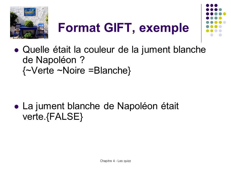 Format GIFT, exemple Quelle était la couleur de la jument blanche de Napoléon {~Verte ~Noire =Blanche}