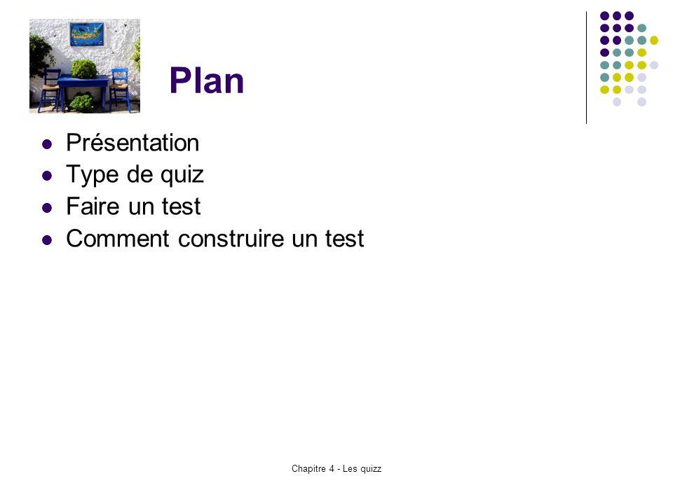 Plan Présentation Type de quiz Faire un test