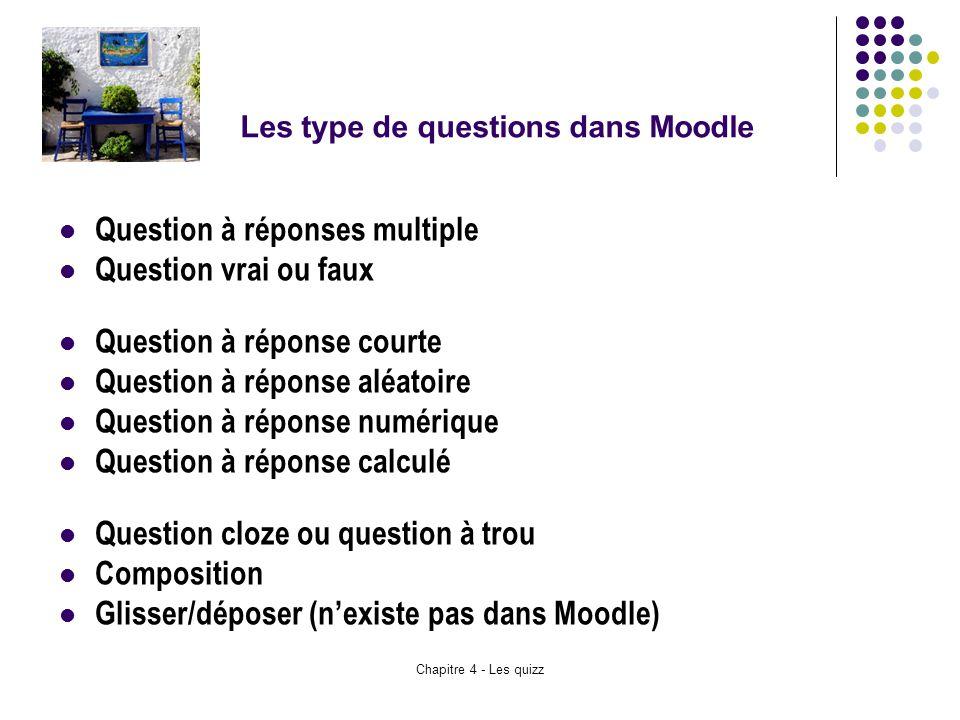 Les type de questions dans Moodle