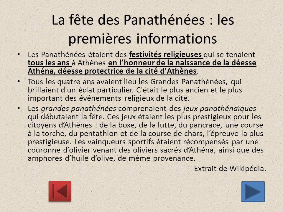 La fête des Panathénées : les premières informations