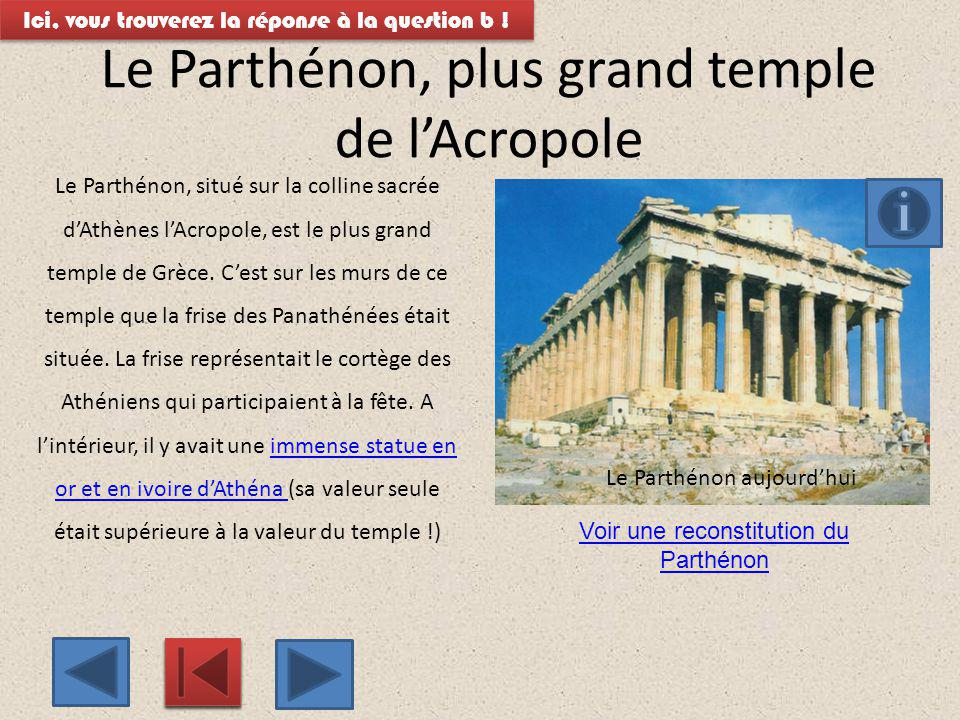 Le Parthénon, plus grand temple de l'Acropole