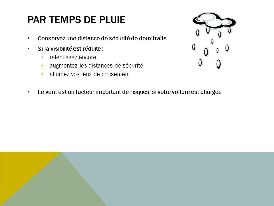 Par temps de pluie Conservez une distance de sécurité de deux traits