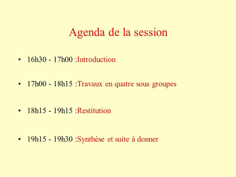 Agenda de la session 16h30 - 17h00 :Introduction