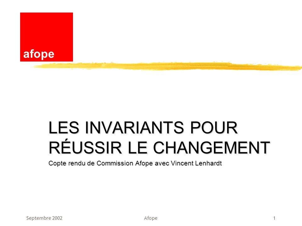 LES INVARIANTS POUR RÉUSSIR LE CHANGEMENT