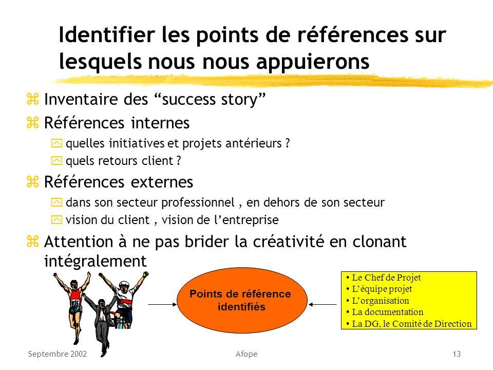 Identifier les points de références sur lesquels nous nous appuierons