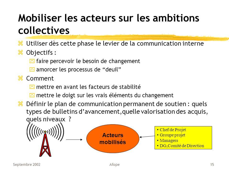Mobiliser les acteurs sur les ambitions collectives