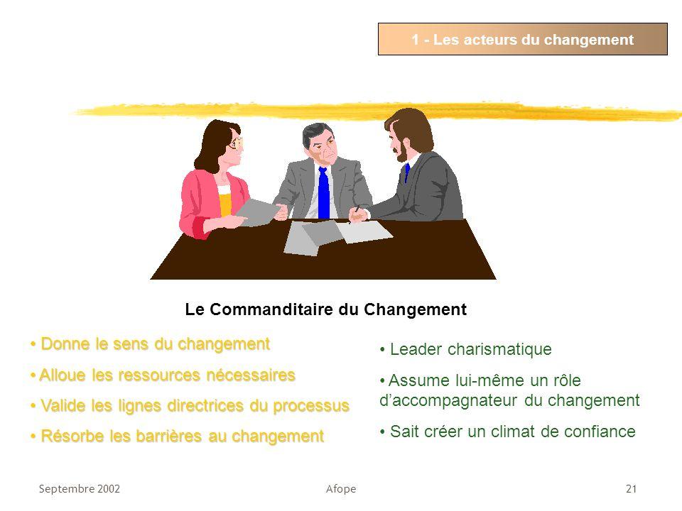 1 - Les acteurs du changement Le Commanditaire du Changement