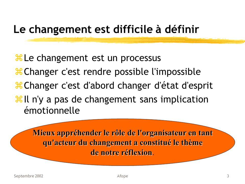Le changement est difficile à définir