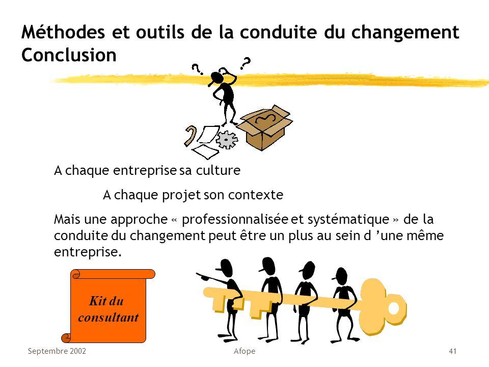 Méthodes et outils de la conduite du changement Conclusion