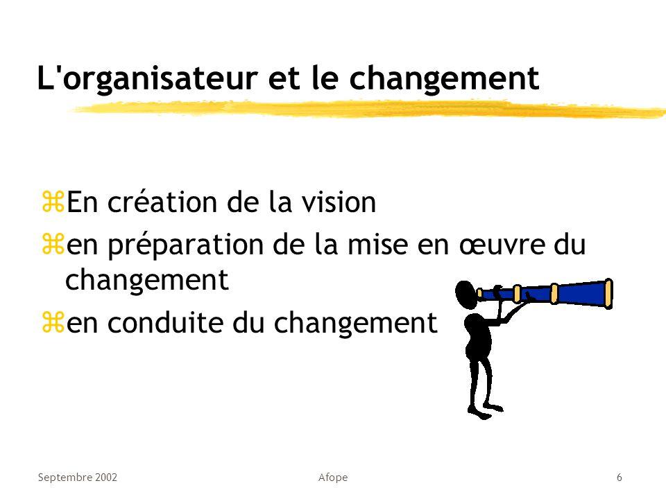 L organisateur et le changement