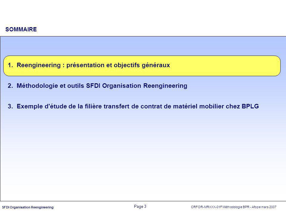 SOMMAIRE Reengineering : présentation et objectifs généraux. Méthodologie et outils SFDI Organisation Reengineering.