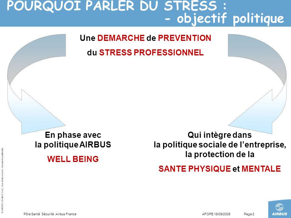 POURQUOI PARLER DU STRESS : - objectif politique
