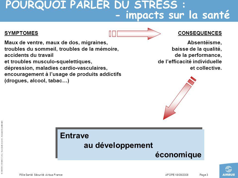 POURQUOI PARLER DU STRESS : - impacts sur la santé