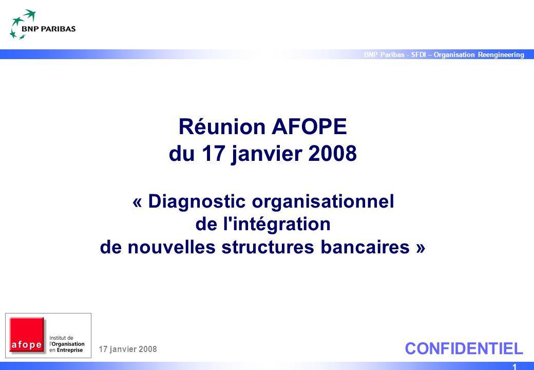 Réunion AFOPE du 17 janvier 2008 « Diagnostic organisationnel de l intégration de nouvelles structures bancaires »