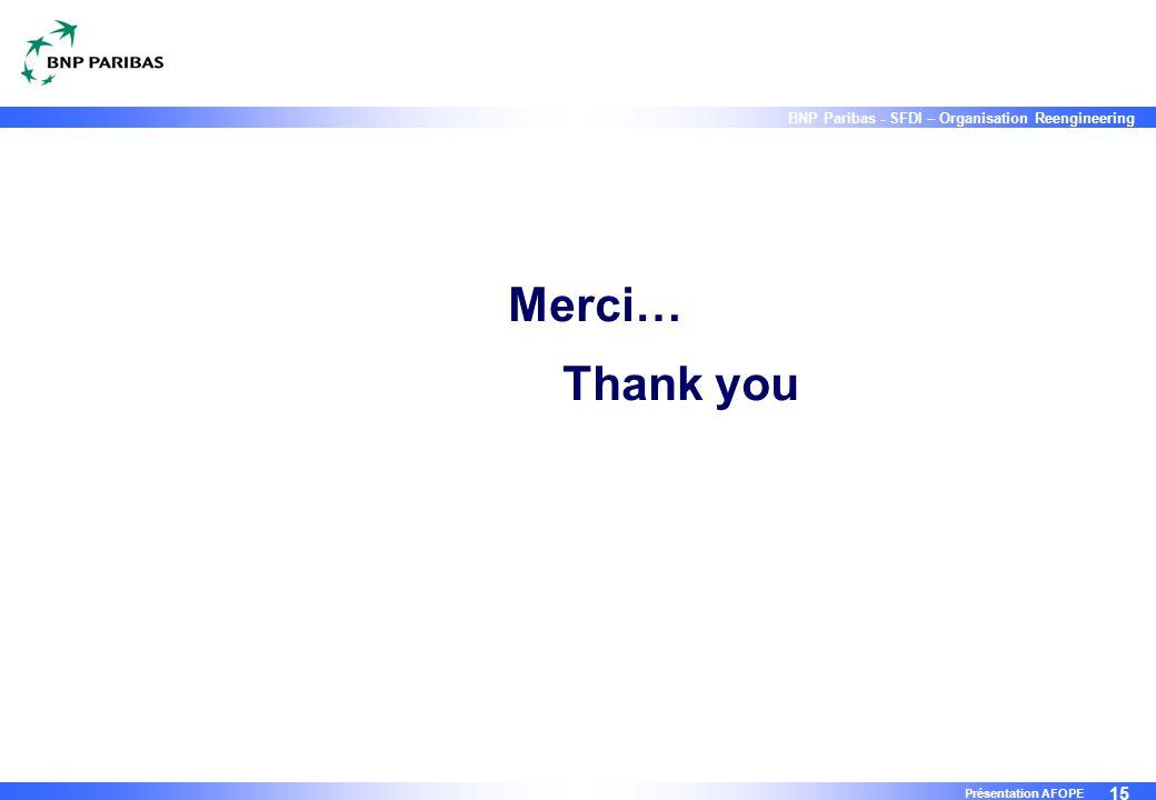 Merci… Thank you Présentation AFOPE