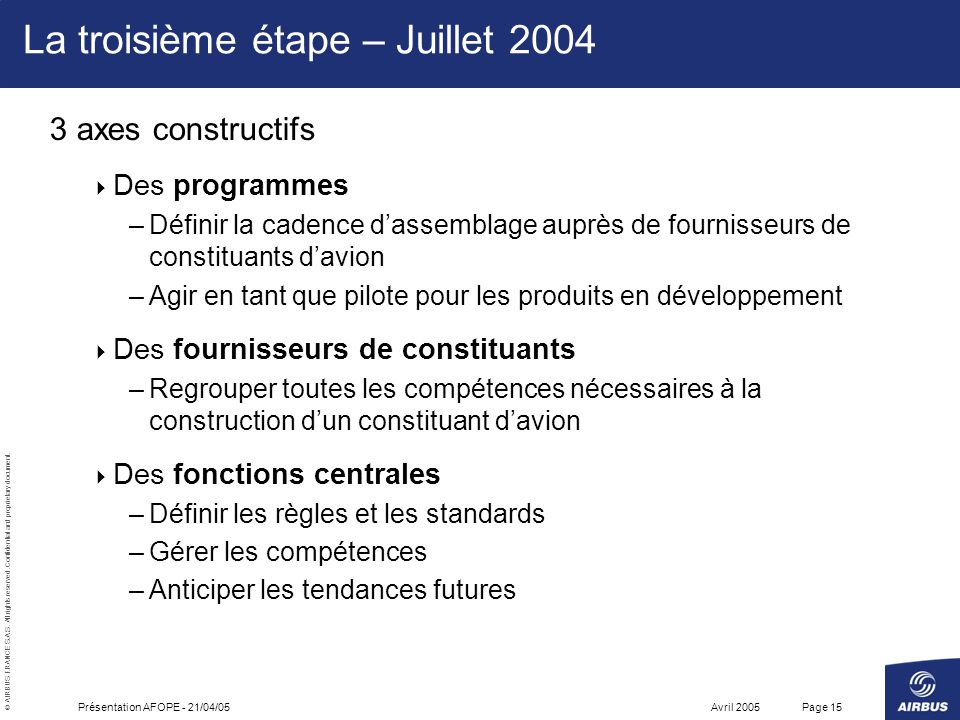 La troisième étape – Juillet 2004