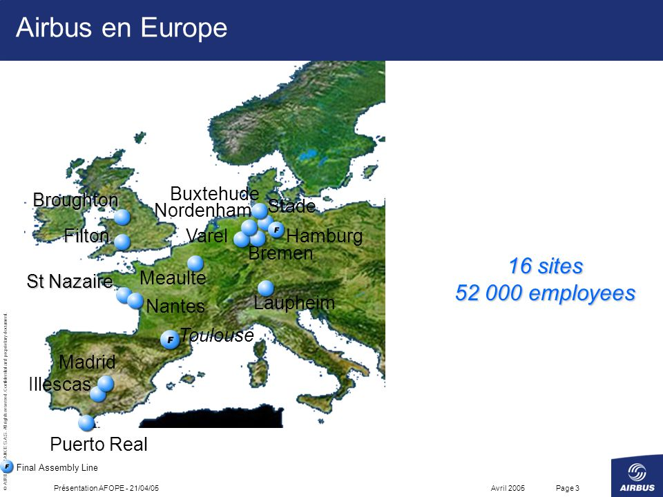 Airbus en Europe 16 sites 52 000 employees Stade Toulouse Buxtehude